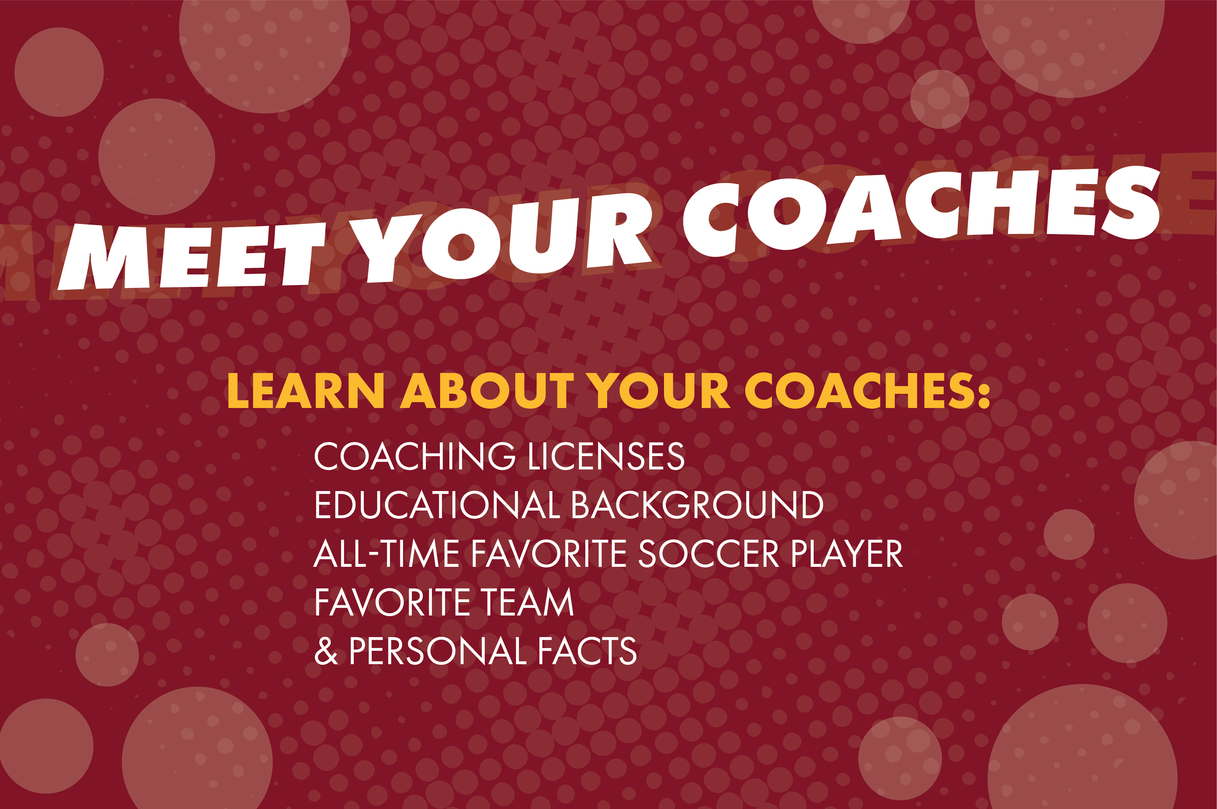 Learn about your coaches: coaching licenses, educational background, all time favorite soccer player, favorite team, and personal facts.